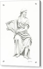 Acrylic Print featuring the drawing Lady With Harp II by Elizabeth Lock