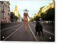 Lady With Her Dog Acrylic Print by Gene Oryx