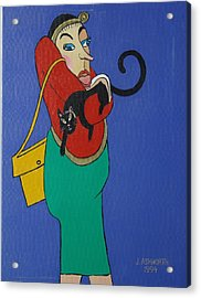 Lady With Independent Cat Acrylic Print by Janet Ashworth