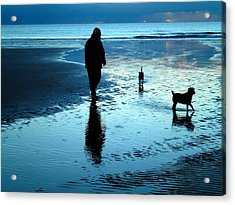 Lady With The Little Dogs Acrylic Print
