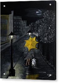 Lady With Yellow Umbrella And White Dog Acrylic Print by Dick Bourgault