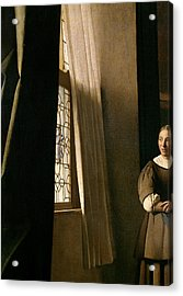Detail From A Lady Writing A Letter With Her Maid Acrylic Print by Jan Vermeer