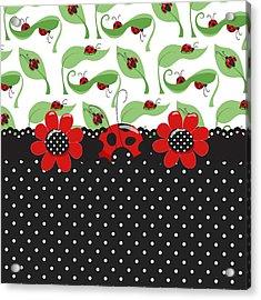 Ladybug Flower Power Acrylic Print by Debra  Miller