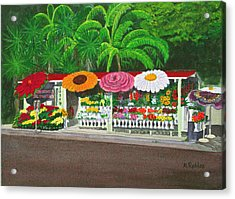 Laguna Beach Flower Stand Acrylic Print by Mike Robles