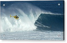 Laird Hamilton Going Left At Jaws Acrylic Print by Bob Christopher