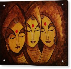 Lajja - The Indian Women Expression Acrylic Print by Shraddha Tiwari