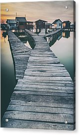 Lake And Roads And Cottages Acrylic Print