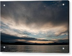 Lake At Sunset With Mountains Acrylic Print