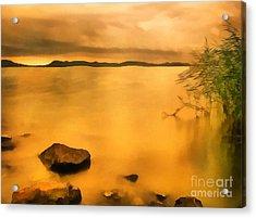 Lake Balaton Sunset Paint Acrylic Print by Odon Czintos