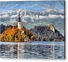 Lake Bled And Mountains Acrylic Print