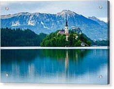Lake Bled Island Church Acrylic Print