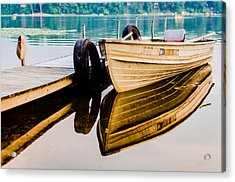 Lake Boat Reflection Acrylic Print