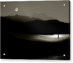 Lake Chatuge Moon Sail Acrylic Print by William Schmid