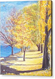 Acrylic Print featuring the painting Lake Explanade Queenstown Nz by Jane  See