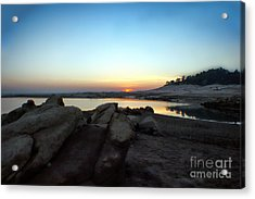 Acrylic Print featuring the photograph Lake Folsom California Rocky Sunset by Polly Peacock