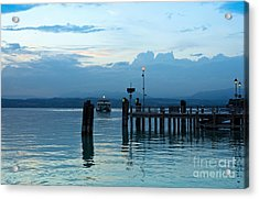 Lake Garda Pier And The Last Ferry For The Day Acrylic Print by Kiril Stanchev