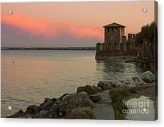 Lake Garda Sunset With The Tower Of The Scaliger Castle Acrylic Print by Kiril Stanchev