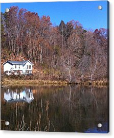 Lake House Blue Sky Acrylic Print by Cleaster Cotton