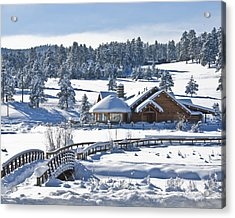 Lake House In Snow Acrylic Print by Ron White