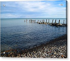 Lake Huron Pilings Acrylic Print by Mary Bedy