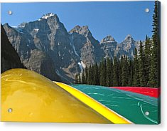 Lake Louise Canoe Acrylic Print by Kurt Gustafson