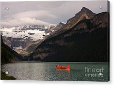 Acrylic Print featuring the photograph Lake Louise Canoes by Chris Scroggins