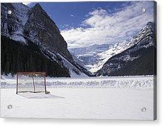 Lake Louise Hockey Net Acrylic Print by Bill Cubitt