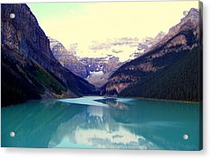 Lake Louise Stillness Acrylic Print by Karen Wiles