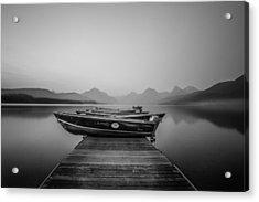 Black And White // Lake Mcdonald, Glacier National Park Acrylic Print by Nicholas Parker