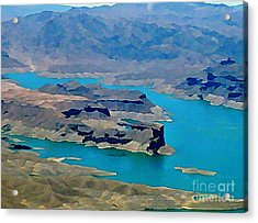 Lake Mead Aerial Shot Acrylic Print by John Malone
