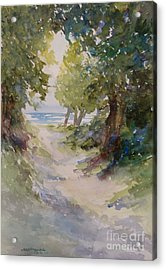 Acrylic Print featuring the painting Lake Michigan Beach Path by Sandra Strohschein