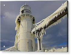 Lake Michigan Lighthouse Frozen In Winter Acrylic Print by Dan Sproul