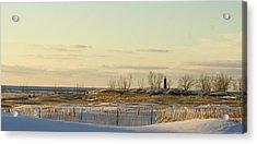 Lake Michigan Lighthouse Muskegon Michigan In Winter Acrylic Print by Rosemarie E Seppala