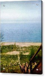 Lake Michigan Staircase Acrylic Print by Michelle Calkins