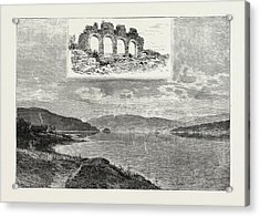 Lake Mjsen And The Ruins Of Hamar Cathedral Acrylic Print by Norwegian School