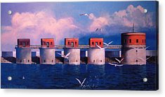Lake Murray Towers Acrylic Print by Blue Sky
