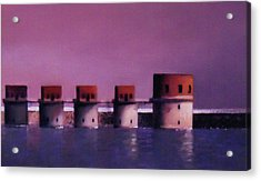 Lake Murray Towers In Evening Acrylic Print by Blue Sky
