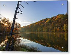 Lake Ogle In Autumn In Brown County Acrylic Print by Chuck Haney