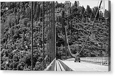 Lake Oroville Bridge Black And White Acrylic Print