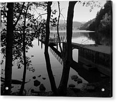 Lake Padden Reflection In Black And White Acrylic Print by Karen Molenaar Terrell