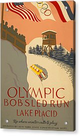 Acrylic Print featuring the painting Lake Placid  Bobsled Olyimics by American Classic Art
