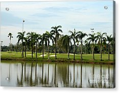 Lake Sand Traps Palm Trees And Golf Course Singapore Acrylic Print