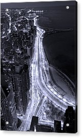 Lake Shore Drive Aerial  B And  W Acrylic Print by Steve Gadomski