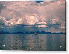 Lake Sunrise Sailing Acrylic Print