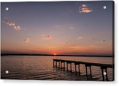 Lake Sunset Over Pier Acrylic Print