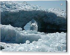 Lake Superior Ice Bridge Acrylic Print by Sandra Updyke