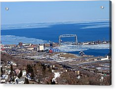 Lake Superior Partly Frozen Over With Duluth Harbor Acrylic Print by Ernie Engebretson