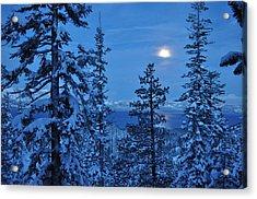 Lake Tahoe Moonset Acrylic Print by Bruce Friedman