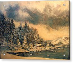Acrylic Print featuring the painting Lake Tahoe Winter Colors 2 by Donna Tucker