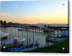 Lake Trasimeno Marina Acrylic Print by Saya Studios